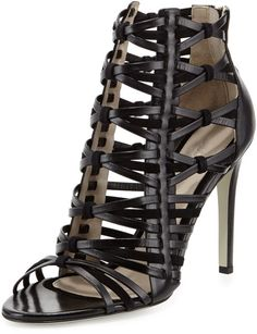Jason Wu Strappy Leather & Suede Cage Sandal in Black