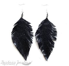 Starry Night  Black and Glitter Leather Feather by BeatniqJewelry, $25.00