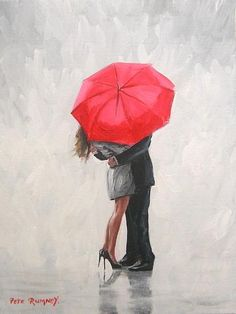 Painting red umbrella embrace in art, artists (self-representing), painting Umbrella Painting, Rain Painting, Couple Painting, Umbrella Art, Love Painting, Mothers Day Drawings, Rain Art, Painting Videos, Beautiful Paintings