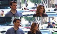 nathan and stana sharing a cupcake while filming castle Castle Tv Series, Castle Tv Shows, Castle Beckett, Stana Katic, Best Series, Best Actress, Favorite Tv Shows, Interview, Nathan Fillion