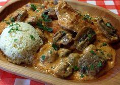 Bakonyi szelet Pork, Food And Drink, Chicken, Kale Stir Fry, Pork Chops, Cubs