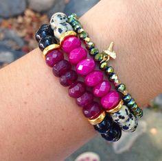 Jade & Gemstone Stretch Bracelet by LovesAffect on Etsy