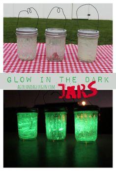 glow in the dark jars--a perfect kids camping craft!  a girlandagluegun.com