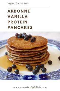 Made with just a handful of ingredients, and best of all, you can make these in a blender for easy clean-up. I personally love the flavor of the plant-based Arbonne vanilla protein powder, but really any vanilla protein will work. Vanilla Protein Recipes, Vanilla Protein Pancakes, Protein Powder Pancakes, Protein Powder Recipes, Protein Shake Recipes, Vegan Recipes, Arbonne Shake Recipes, Arbonne Protein Shakes, Protein Deserts