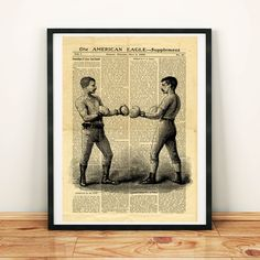 Box Boxing Antique Sport Fight Fighting Printable Collage Old Newspaper A3 Art Print 11x16 Home Decor - DIGITAL DOWNLOAD jpg HQ300dpi by ZikkiArt on Etsy