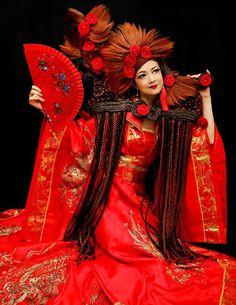 Lavish floral avant-garde red hair art Creative Colour, Hair Art, Red Hair, Wonder Woman, Superhero, Floral, Color, Dresses, Fashion