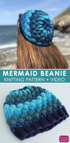 Mermaid Bubble Beanie Hat with Free Pattern and Video Tutorial by Studio Knit #StudioKnit #knittedhat #freeknittingpattern #howtoknit #hat #freeknitting