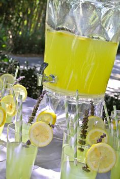 Signature drinks (like this amazing lavender lemonade) are always a fun and creative way to personalize your party!