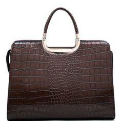 Exquisite Womens Designer Briefcase Laptop Tablet Ipad Bag (Matte Croco  Brown) Ecoscapes 9feff6dc797a8