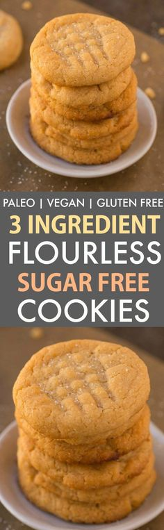The old fashioned 3 Ingredient flourless peanut butter cookies get a sugar free, egg free and healthy makeover! These three-ingredient sugar-free flourless cookies are completely paleo, vegan, gluten free, grain free and dairy free! Sugar Free Cookies, Sugar Free Desserts, Sugar Free Recipes, Low Carb Desserts, Gluten Free Desserts, Healthy Desserts, Gluten Free Recipes, Low Carb Recipes, Diabetic Desserts