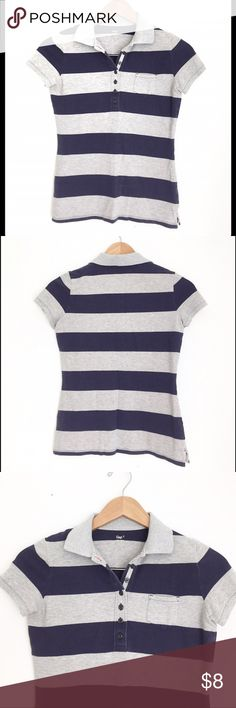 GAP Polo Shirt Cute Short Sleeve GAP Polo Shirt, has some stretch to it (98% cotton 2% spandex) excellent condition! Navy and Gray Striped GAP Tops Tees - Short Sleeve