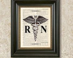 "Dictionary Art Print - ""Vintage Registered Nurse Caduceus "" Upcycled dictionary page print, Medical print, Registered Nurse Gift, RN art"