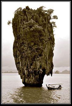 James Bond Island, known originally and locally as Ko Tapu or Nail Island, Phuket, Thailand.