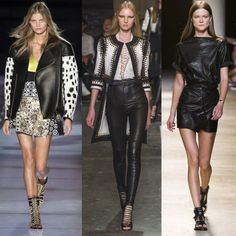 Da sinistra: maxi chiodo Fausto Puglisi. Pantaloni skinny, Givenchy. Gonna a portafoglio e top coordinato, Isabel Marant