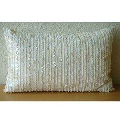 Decorative Oblong / Lumbar Throw Pillow Covers Accent Pillows Couch 12x18 Inch Silk Pillow Cover Pearl Embroidered Home Decor - Pearl Harbor...