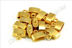 3f829aac83 5 pcs Gold End Caps, (11mm x 12mm) Gold Flat End Caps, Matte Gold Plated End  Cap, Gold Leather Cord Ends, Metal Gold End Caps / GPY-330