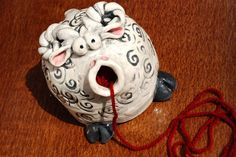 Sheep Shaped Ceramic Yarn Bell by BKYStudios on Etsy Knitting Yarn, Hand Knitting, Yarn Organization, Pottery Animals, Polymer Clay Ornaments, Ceramic Techniques, Yarn Store, Yarn Bowl, Hand Crochet