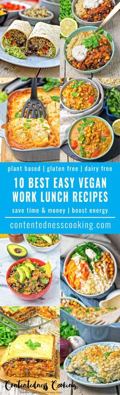 My list of the 10 Best Easy Vegan Work Lunch Recipes for you to enjoy a stress free lunch break and skip the greasy fast food options. 10 perfect meals to save you time and money and boost you with energy in the middle of the day. #vegan #glutenfree #lunch #work #soups #salads #casseroles #plantbased #dairyfree