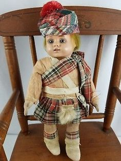 Antique-Vintage-Doll-German-Schildkrot-Orig-Outfit-Celluloid-Head-Jointed-Boy