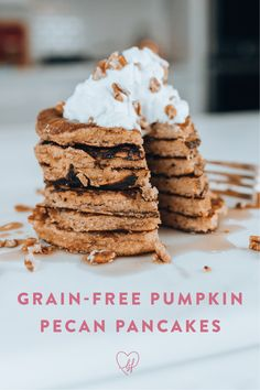 A healthy breakfast with lots of good fats, protein, and carbs. Dairy Free Pumpkin Recipes, Gluten Free Recipes For Breakfast, Allergy Free Recipes, Gluten Free Desserts, Low Carb Recipes, Whole Food Recipes, Pumpkin Pecan Pancakes Recipe, Have Time, Thanksgiving