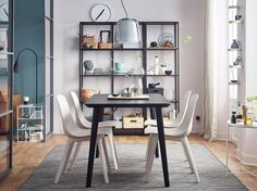 Instructions for Poang IKEA Dining Room Chairs — Home Inspirations White Dining Room Table, Narrow Dining Tables, Ikea Dining Table, Dining Room Shelves, Casual Dining Rooms, Dining Room Wall Decor, Dining Room Lighting, Small Dining, Dining Room Design