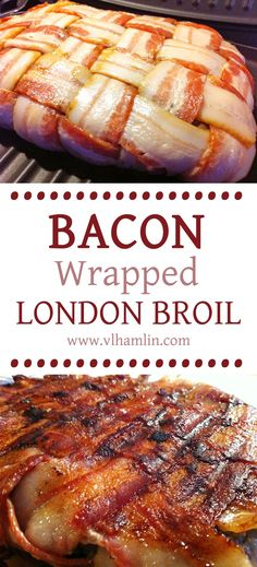 Can you see the moisture dripping from that steak? It is sooo good! With just 5 ingredients and less than an hour, you can prepare this amazingly moist Bacon Wrapped London Broil Steak for your dinner tonight. London Broil Marinade, London Broil Steak, Grilled London Broil, Bacon Steak, Fried Steak, Grilling Recipes, Meat Recipes, Cooking Recipes, Recipes