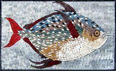 Mosaico de mármol de peces bellamente coloreado por Mozaico en Etsy