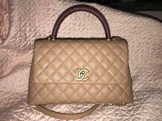 507b5096f0dd AUTHENTIC CHANEL CoCo Handle SMALL Beige Burgundy Caviar Lizard Gold Flapbag