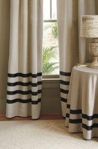 add grosgrain ribbon to make stripes on DIY drop cloth curtains. add grosgrain ribbon to make stripes on DIY drop cloth curtains. Plain Curtains, Striped Curtains, Drop Cloth Curtains, Linen Curtains, Drapery, Luxury Curtains, Short Curtains, Curtains Living, Cafe Curtains