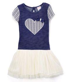 Black & Ivory Heart Drop-Waist Dress - Toddler