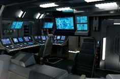 Spaceship Bridge idea - I can see Sam here. But I stripped down the number of monitors. To make it a little more lonely.