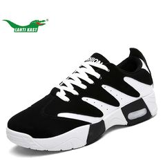 LANTI KAST Men Running Shoes High Quality Air Cushion Lace Up Sport Shoes Men Non-slip Hard-wearing Round Head Sneakers for Men