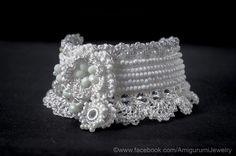 White Crochet Bracelet Cuff. Wedding Cuff Bracelet. Crochet Jewelry. Beaded White Bracelet. Freeform Crochet.