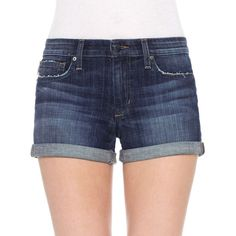 Joe'S Jeans Rolled Denim Shorts ($98) ❤ liked on Polyvore featuring shorts, emmie wash, plus size, mid rise shorts, mid rise jean shorts, joes jeans shorts, short jean shorts and womens plus size shorts