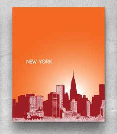 Skyline City Art / New York Skyline / Home Office Art Poster / 8x10 Print Any City Available    Custom requests for cities are always welcome!