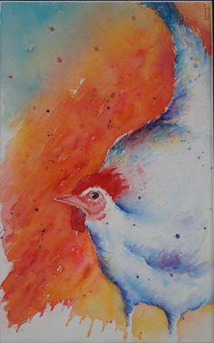 De witte kip - Originele kip aquarel/schilderij White Hen, Watercolor Paintings, The Originals, Art, Art Background, Water Colors, Kunst, Performing Arts, Watercolour Paintings