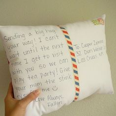 postcard pillow on etsy  or, Make your own.
