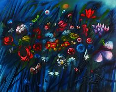 Charles Blackman | Flowers and Insects oil on canvas on board