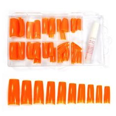 Colored French Nail Tips with Tip Box and Glue (100pcs) - Orange CODE: No.442K * Want to know more, click on the image.