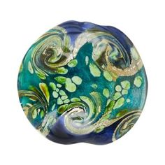 19x20mm Blue with green swirls glass disc beads. These gorgeous glass lampwork beads are blue with tan, gold and green swirls and have a turquoise foil core.