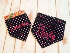 Disney Dog Bandana - Minnie bows in pink on black dots.  Add your pet's monogram - variety of fonts.  Reversible to pink green paisley by CollarRap on Etsy