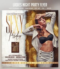 Ladies Night Party Flyer by studiorgb Graphic Design Flyer, Flyer Design, Design Posters, Club Flyers, Event Flyers, Dj Party, Party Flyer, Ladies Night Party, Dj Photos