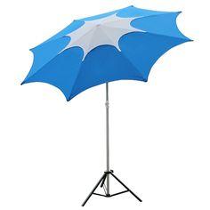 Abba Patio 7-1/2-Feet Fiberglass Rib Beach Patio Aluminum Umbrella with 2 Sand Anchors and Push Button Tilt Pacific Blue