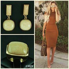 Brincos e anel com pedra amazonita!! www.ckdsemijoias.com.br