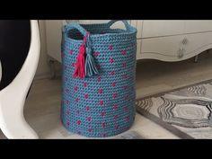 Penye ip ile büyük boy sepet yapımı-2 - YouTube