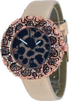 Mark Naimer #MN3033-RG Women's Fashion Accessory Rose Gold Tone Crystal Bezel Leopard Dial Strap Watch -