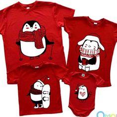 """Новогодний семейный Family look """"Пингвины нарисованные"""" (красный)"""