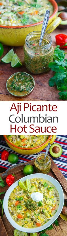Colombian Hot Sauce (Aji Picante) Recipe : A Colombian style hot sauce with plenty of cilantro and green onions that tis perfect for soup, rice, beans, empanadas, etc. Picante Recipe, Salsa Picante, Chutneys, Sauce Spaghetti, Colombian Food, Colombian Salsa Recipe, Colombian Recipes, Hot Sauce Recipes, Gourmet