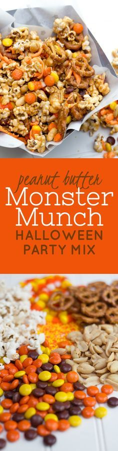 Peanut Butter Monster Munch Halloween Party Mix. Click through for this perfect fall, Halloween, or Thanksgiving snack or appetizer recipe.