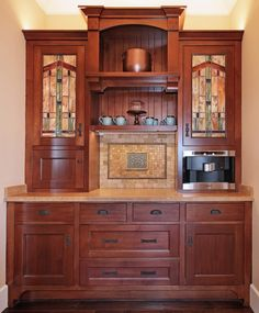 crafts style kitchen craftsman craftsman style kitchen kitchen arts crafts with stained glass cabinet doors http Dining Room buffet built in Craftsman Interior, Craftsman Furniture, Craftsman Kitchen, Craftsman Style Homes, Craftsman Decor, Craftsman Cottage, Kitchen Cabinets For Sale, Kitchen Cabinet Styles, Kitchen Pantry